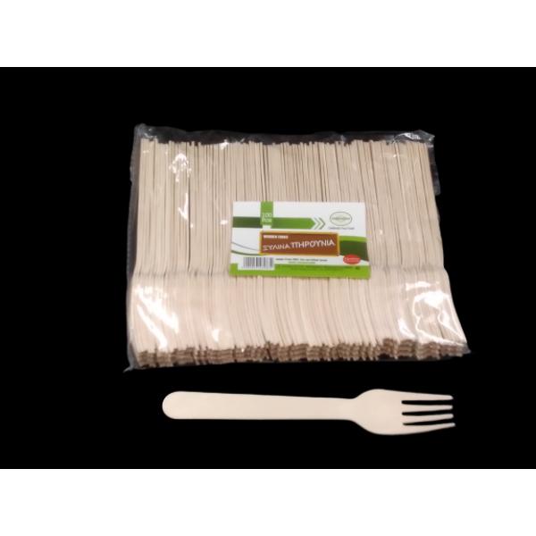 Ξύλινα Πηρούνια100ΡCS Ξύλινα - Μπαμπού Συσκευασιες Τροφιμων - thalassinos.com.gr